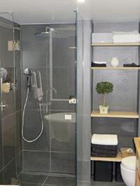 Bathroom fitout including hot water system